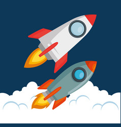 start up launcher set rockets vector image
