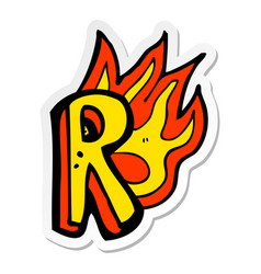 Sticker of a cartoon flaming letter vector