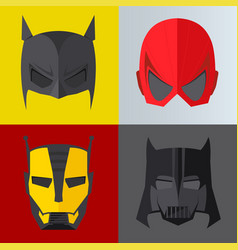 Superhero mask on colored backgrounds vector