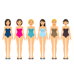 Swimsuit in different colors set young girls vector