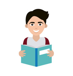 Teen with open book supply home education flat vector