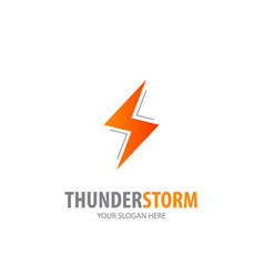 thunderstorm logo for business company simple vector image