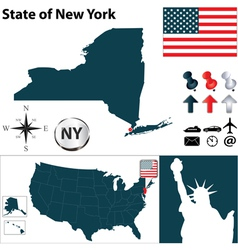 Usa map new york vector