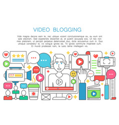 video blogger flat line concept computer screen vector image