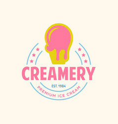 vintage ice cream shop logo badge and label vector image