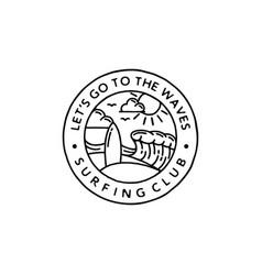 vintage surfing badge emblem surfer logo vector image