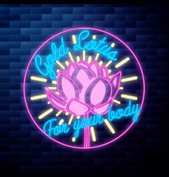 vintage yoga emblem glowing neon sign vector image