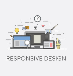 web and mobile design responsive ui process of vector image