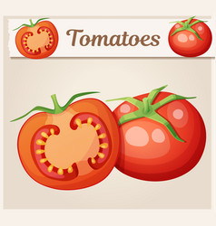 whole and half tomato vegetable cartoon vector image