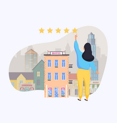 woman giving rating to hotel hand choosing vector image