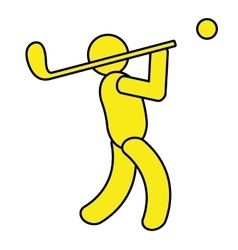 Yellow avatar an playing golf graphic vector
