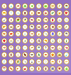 100 cafe icons set in cartoon style vector image