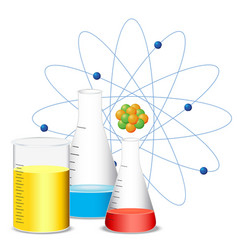 beakers filled with colorful liquid vector image vector image