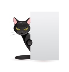 Black cat with banner vector image
