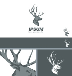 Deer Stag Head sign drawn vintage branding design vector image
