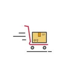Fast delivery cart with parcel box icon vector image vector image