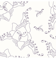 Hand drawn seamless pattern with flower and wasp vector image vector image