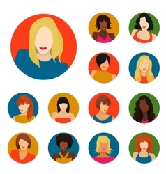 Set of female portraits vector image vector image