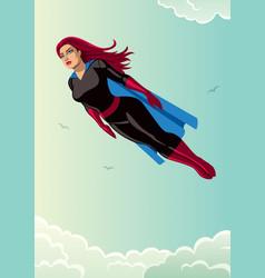 super heroine flying sky vector image