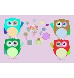 sweet owls and flowers mosaic vector image