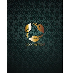 Background with floral emblem vector image vector image