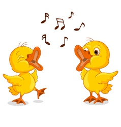 cute two little chick cartoon singing vector image vector image