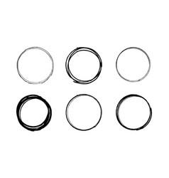 grunge scribble circle set vector image