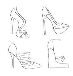 items shoes set on a high heel isolated on white vector image