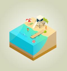 on the beach vector image