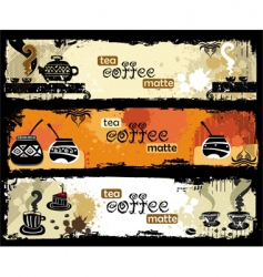 tea coffee yerba mate banners vector image vector image