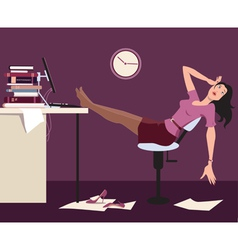 Working late and tired vector image vector image