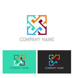 arrow colored square company logo vector image