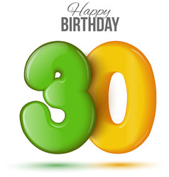 birthday Greeting card with numbers 30 thirty vector image vector image