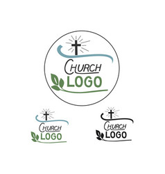 Church logo with cross and leaves vector