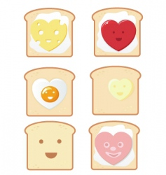 comic toast icons vector image vector image