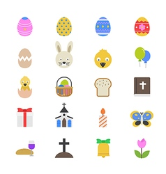Easter flat color icons vector