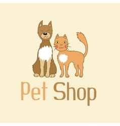 Funny cat and dog are best friends sign for pet vector image vector image