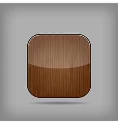 glossy wooden app button vector image vector image
