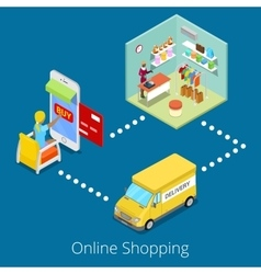 Isometric Online Shopping Woman Buying Clothes vector image vector image