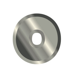 Letter o steel font metal alphabet sign iron abc vector