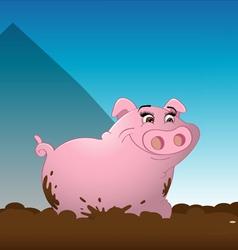 pig wallowing mud vector image