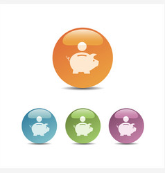 piggy bank icon on colored bubbles vector image