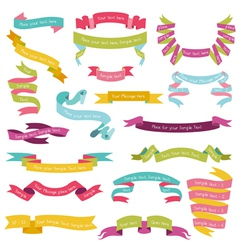 Set of Colorful Ribbons for your Text vector image
