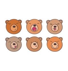 Set smileys bears vector image vector image