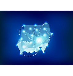 Sudan country map polygonal with spot lights place vector image vector image