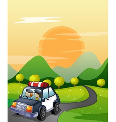 car and road vector image vector image