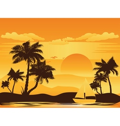 Palm Tree at Sunset5 vector image