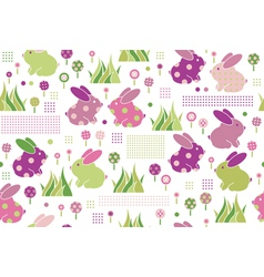 rabbits flora pattern vector image vector image