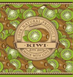 vintage kiwi label on seamless pattern vector image vector image