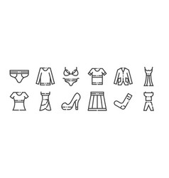 12 set linear clothes and apparel icons thin vector